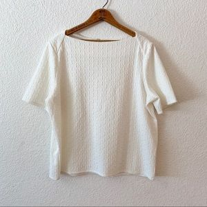 Chicos Ivory Textured Boat Neck Short Sleeve Top